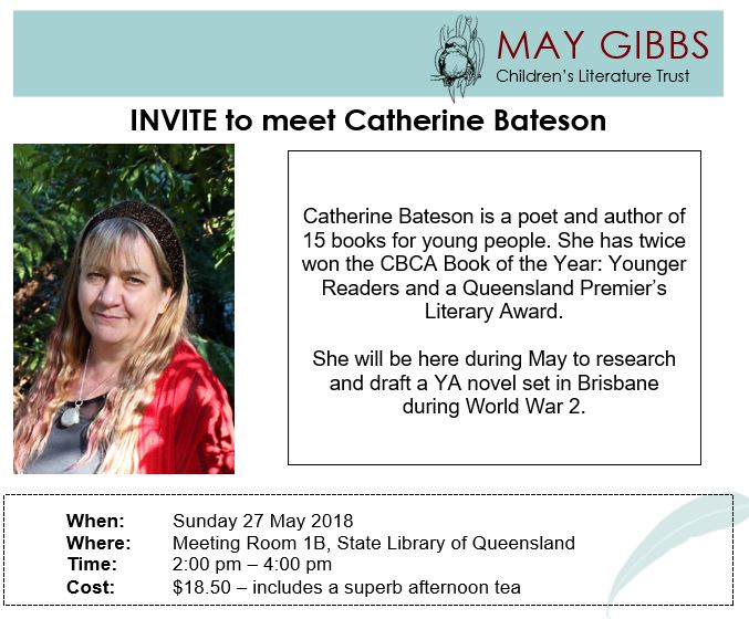 0c49a21e2 Catherine Bateson will be in Brisbane during May to research and draft a YA  novel due to a May Gibbs Fellowship. She will be talking about this